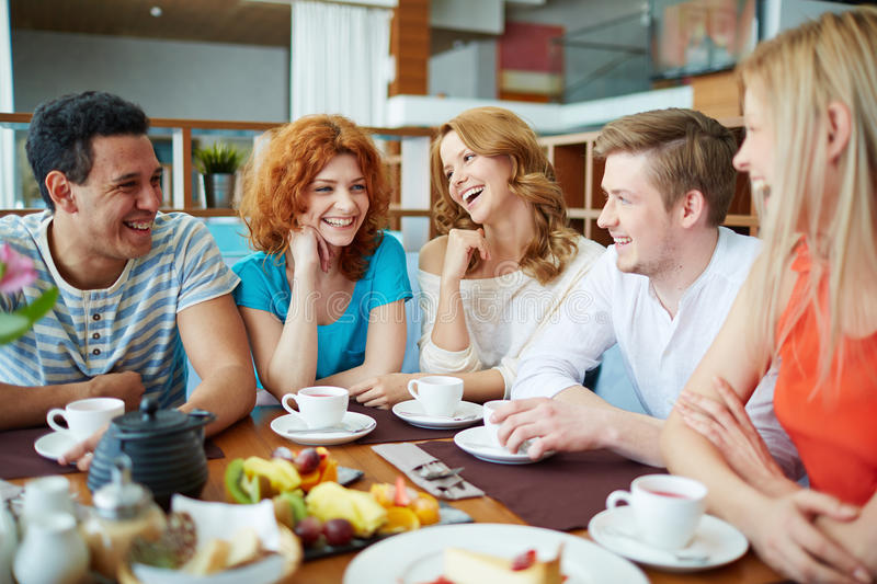 Talk in cafe royalty free stock photo
