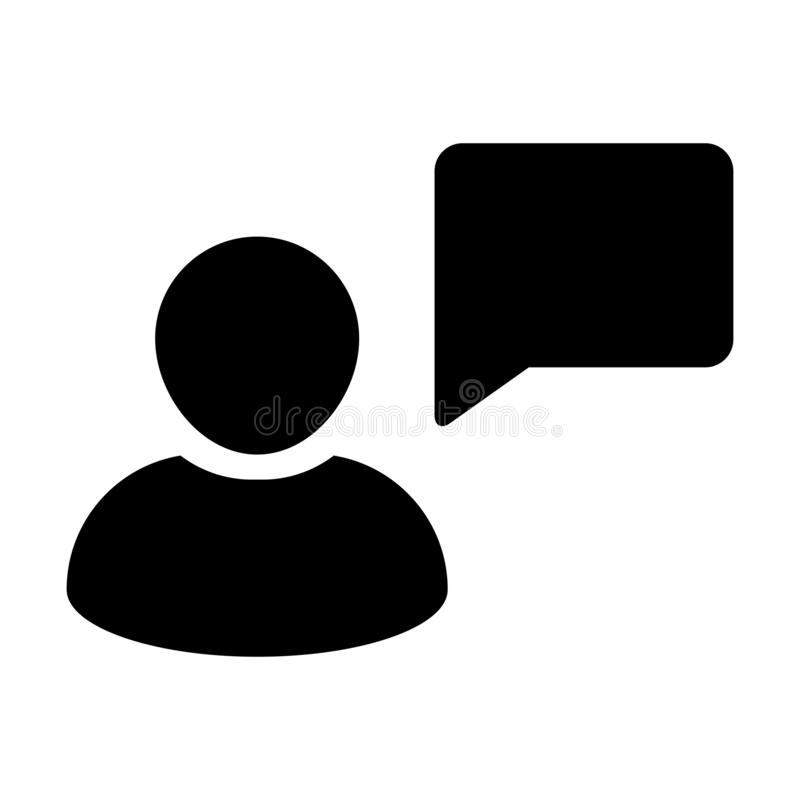 Talk icon vector male person profile avatar with speech bubble symbol for discussion and information in flat color glyph pictogram vector illustration