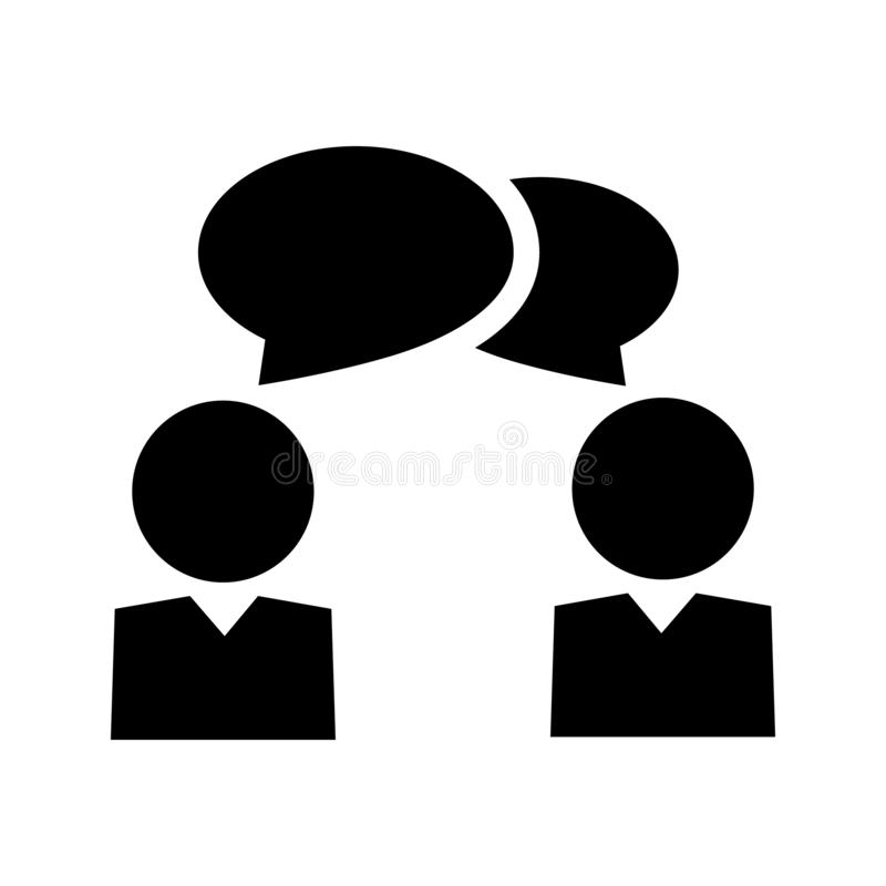 Talk people icon in flat style. Man with speech bubble illustration on white background. Talk chat business concept. royalty free illustration