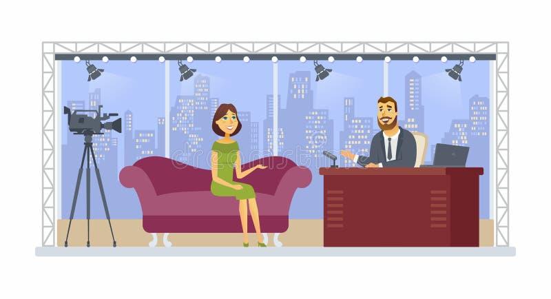 Talk show di spettacolo - il carattere della gente del fumetto ha isolato l'illustrazione illustrazione vettoriale