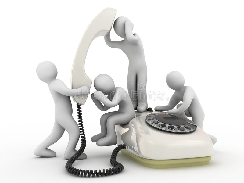 Talk on telephone. Telephone and people on white background stock illustration