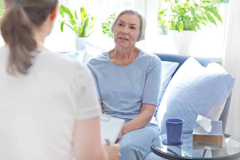 Talk therapy female counselor patient royalty free stock image