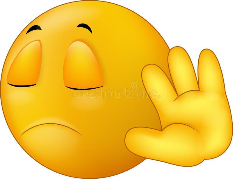 Talk to my hand gesture, smiley emoticon cartoon stock illustration