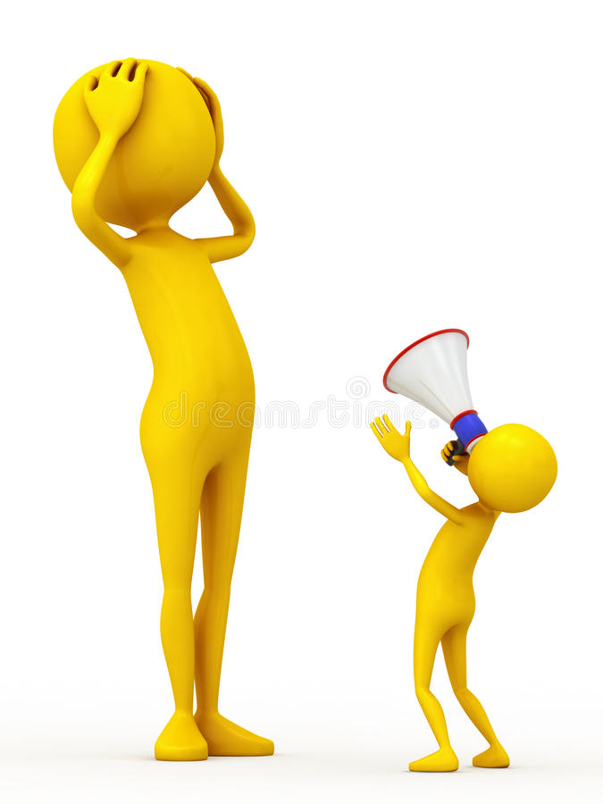 Talk two personages. Two personages and megaphone on white background royalty free illustration