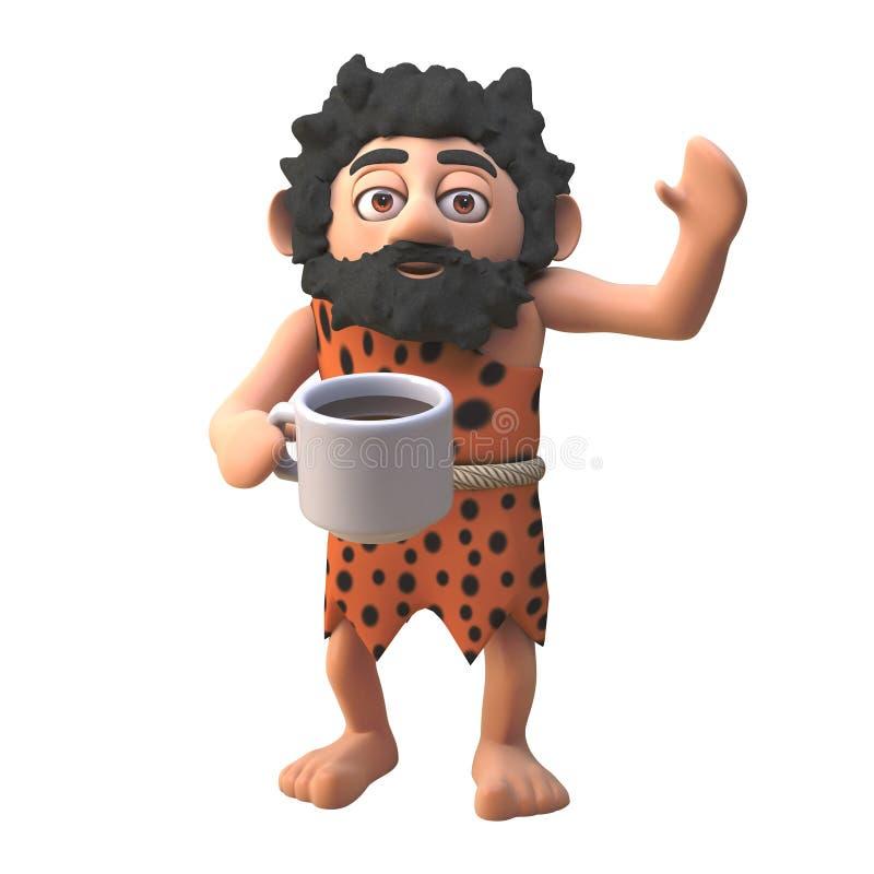 Talkative 3d, postać z jaskini, pije dziewiątą filiżankę kawy, ilustracja 3d ilustracja wektor