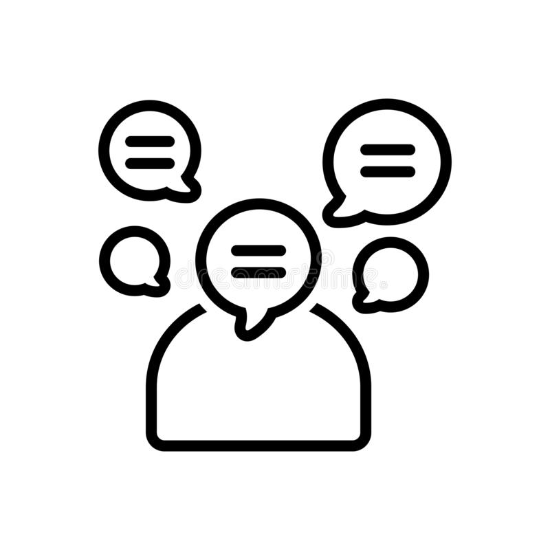 Black line icon for Talkative, voluble and chatty stock illustration