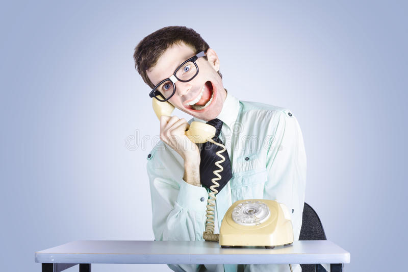 Talkative Nerd Man With Big Mouth Stock Photos