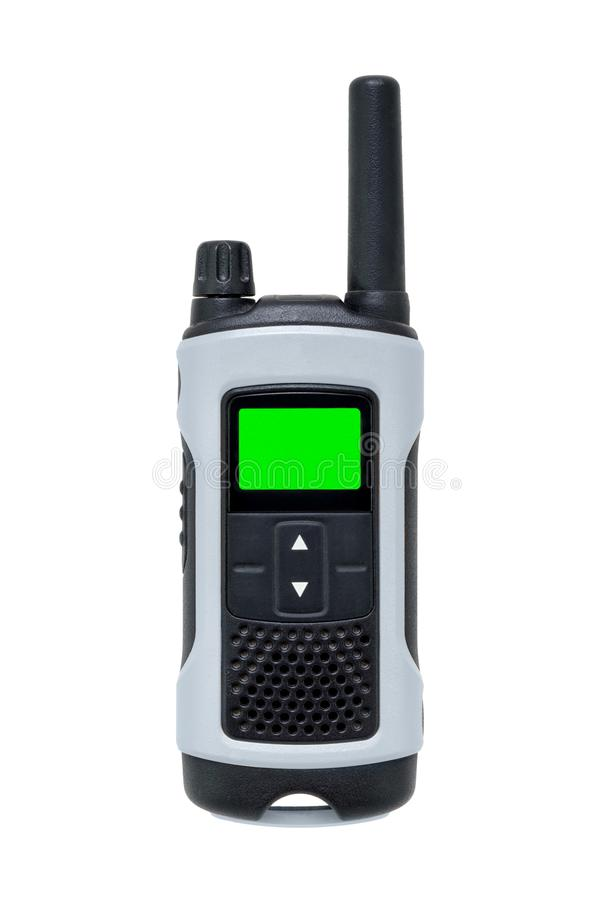 Talkie walkie with green blank lcd screen. Lighted isolated on white stock photo