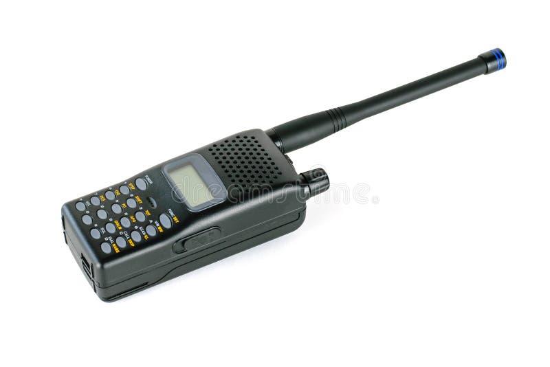 Talkie - walkie professionnel moderne d'isolement sur le fond blanc La vue à partir du dessus photo stock