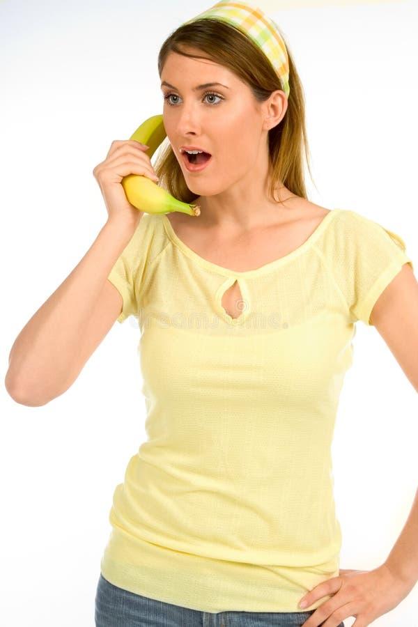 Talking on banana stock photos