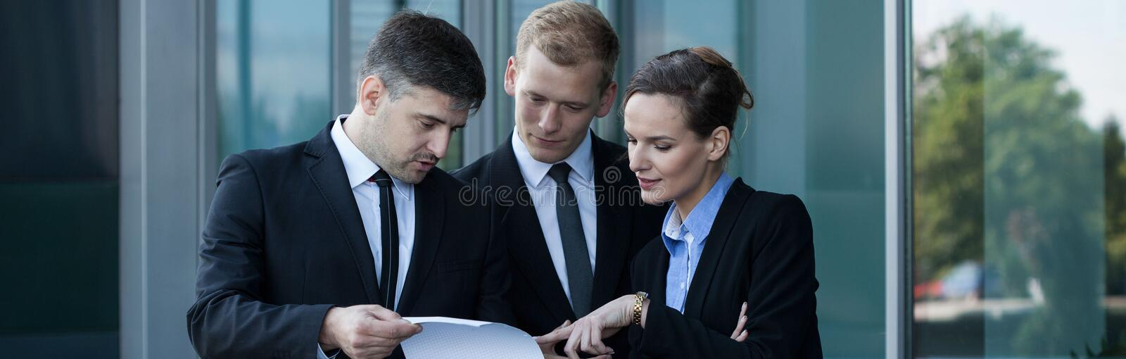 Talking before business meeting stock images