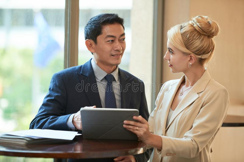 Talking business partners royalty free stock photos