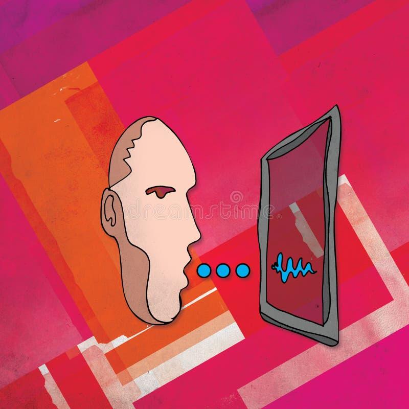 Talking Computer. Illustration of a man talking to a computer vector illustration