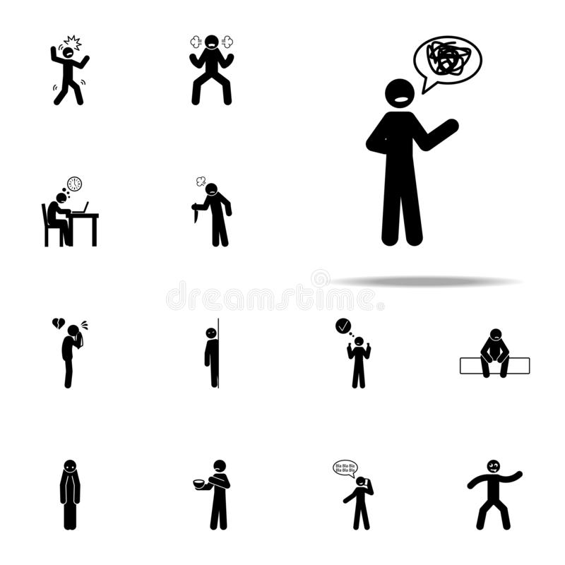 talking, confusedly icon. Negative Character icons universal set for web and mobile vector illustration