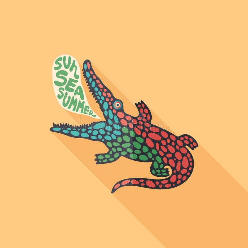 Talking crocodile flat square icon with long shadows. royalty free illustration