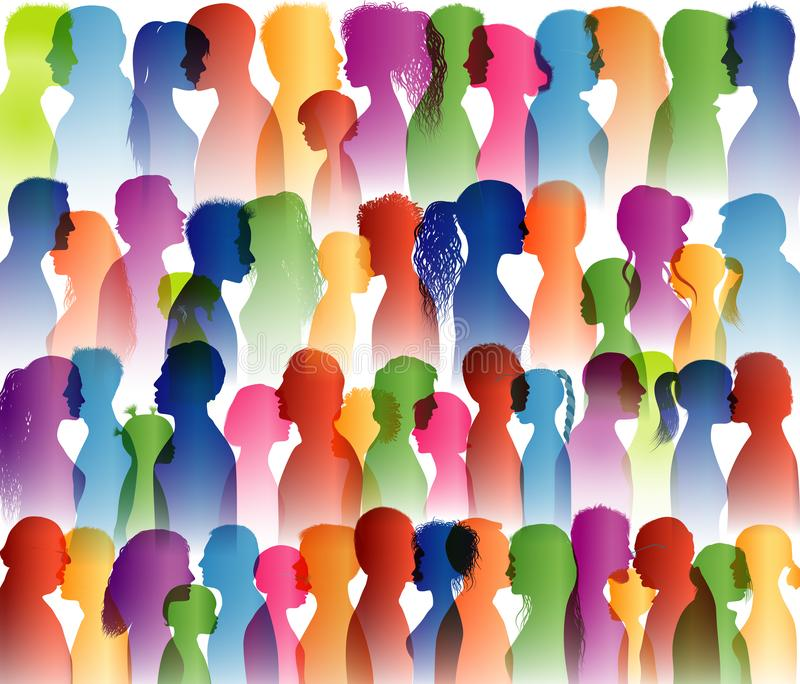 Talking crowd. Dialogue group of many people. Speak. To communicate. Colored silhouette profiles. People talking. Social network. royalty free illustration