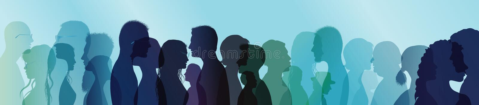 Talking crowd. People talking. Dialogue between people. Colored silhouette profiles. Multiple exposure stock illustration