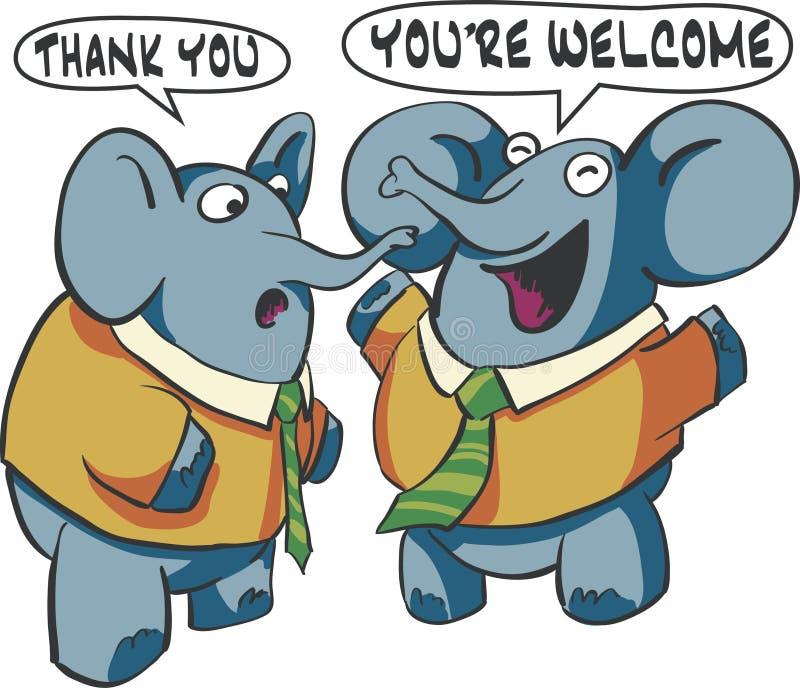 Talking Elephants. Two elephants having a conversation royalty free illustration