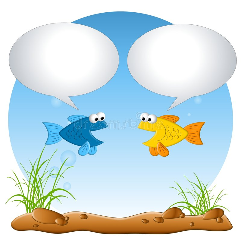 Talking Fish in Tank. An illustration featuring a couple of fish in a tank talking about whatever you add to the bubbles