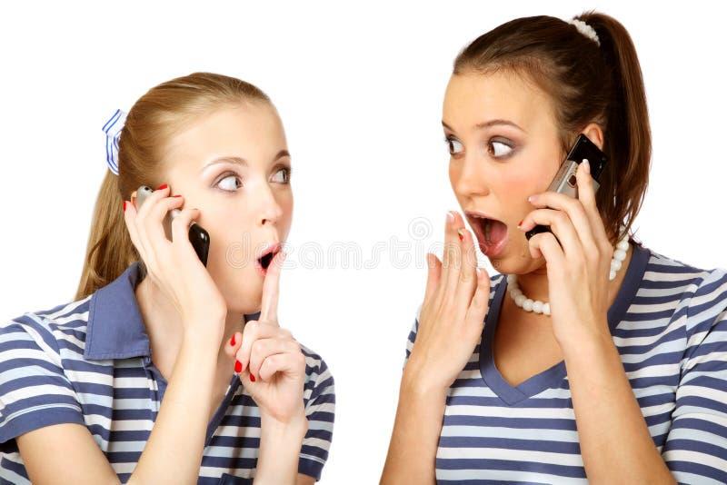 Talking girls stock photo