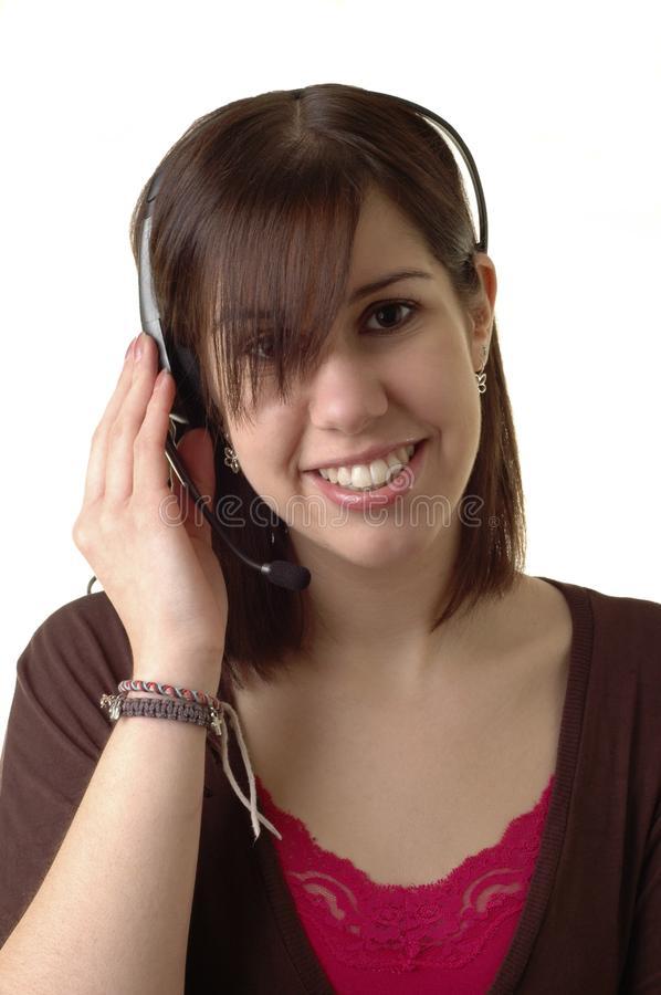 Talking on Headset royalty free stock photography