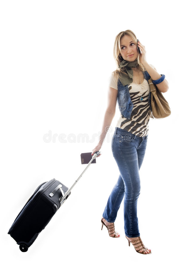 Download Talking On Her Mobile Before Her Flight Stock Photo - Image: 8936972