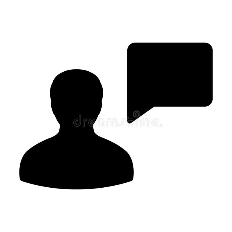 Talking icon vector male person profile avatar with speech bubble symbol for discussion and information in flat color glyph stock illustration
