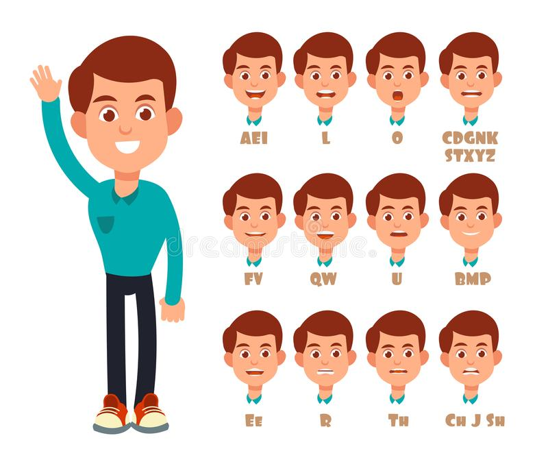 Talking lips sync animation. Cartoon vector speaking mouth and boy portrait isolated vector illustration