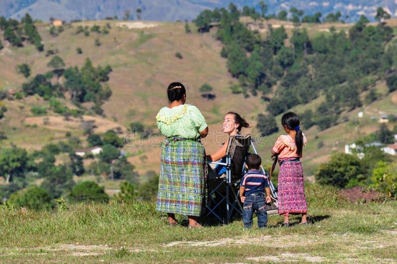 Talking with locals, Sacapulas, Guatemala stock photo