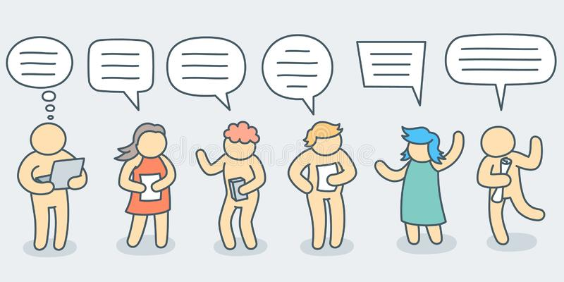 Talking people with simple doodle bubble set - line art vector illustration stock photo