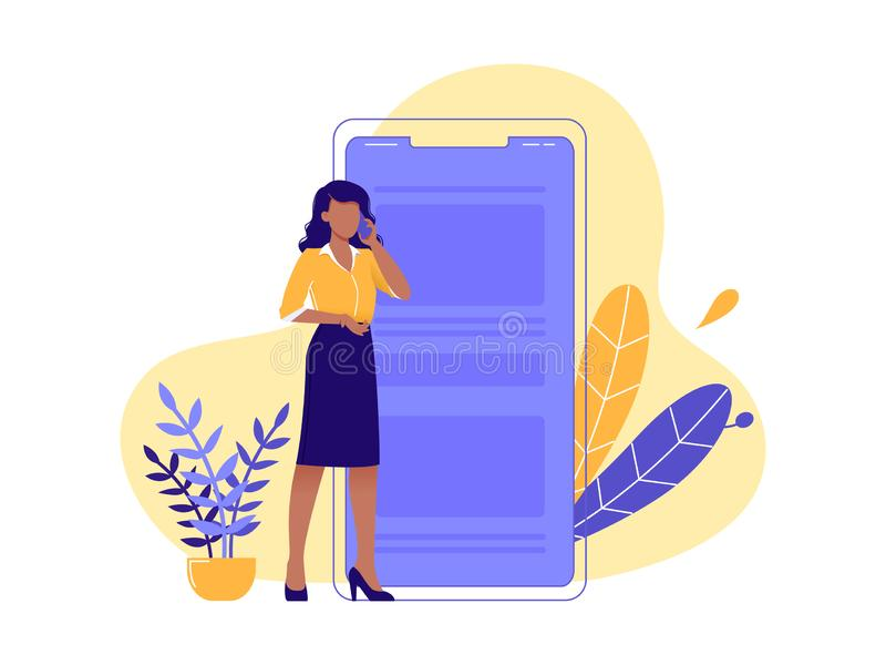 Talking on the phone, chatting. Young woman standing near big smartphone and conducting business negotiations by phone. Isolated vector illustration