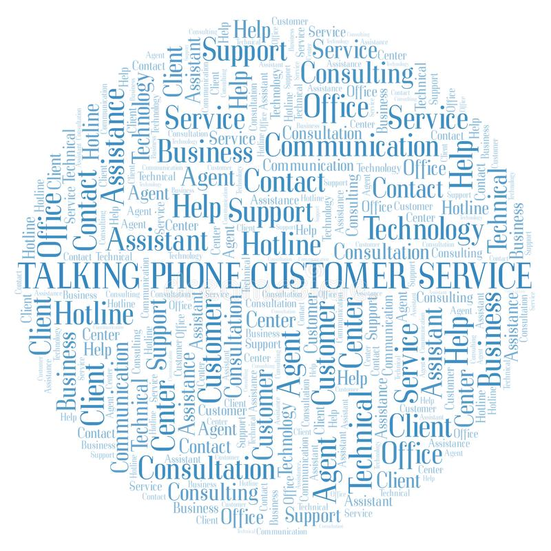 Talking Phone Customer Service word cloud. Wordcloud made with text only vector illustration