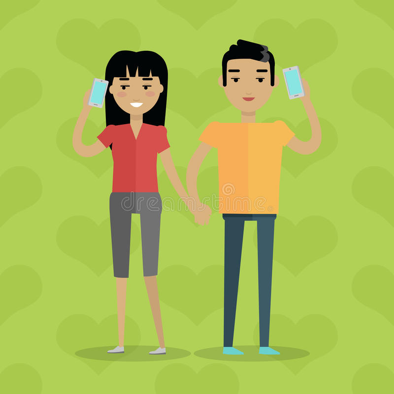 Talking on Phone Vector Concept in Flat Design royalty free illustration