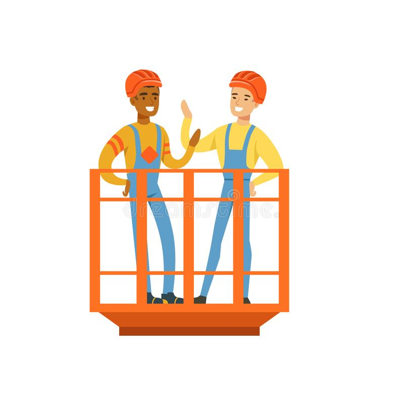 Talking and smiling male miners in uniform standing in mine lift, professional miners at work, coal mining industry royalty free illustration