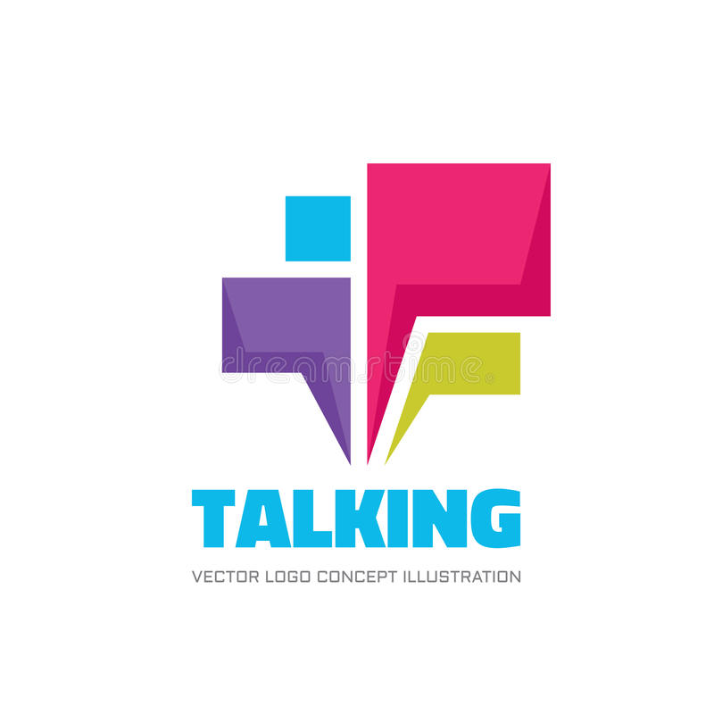 Talking - speech bubbles vector logo concept illustration in flat style. Dialogue icon. Chat sign. Social media symbol. Communication messages insignia. Design stock illustration
