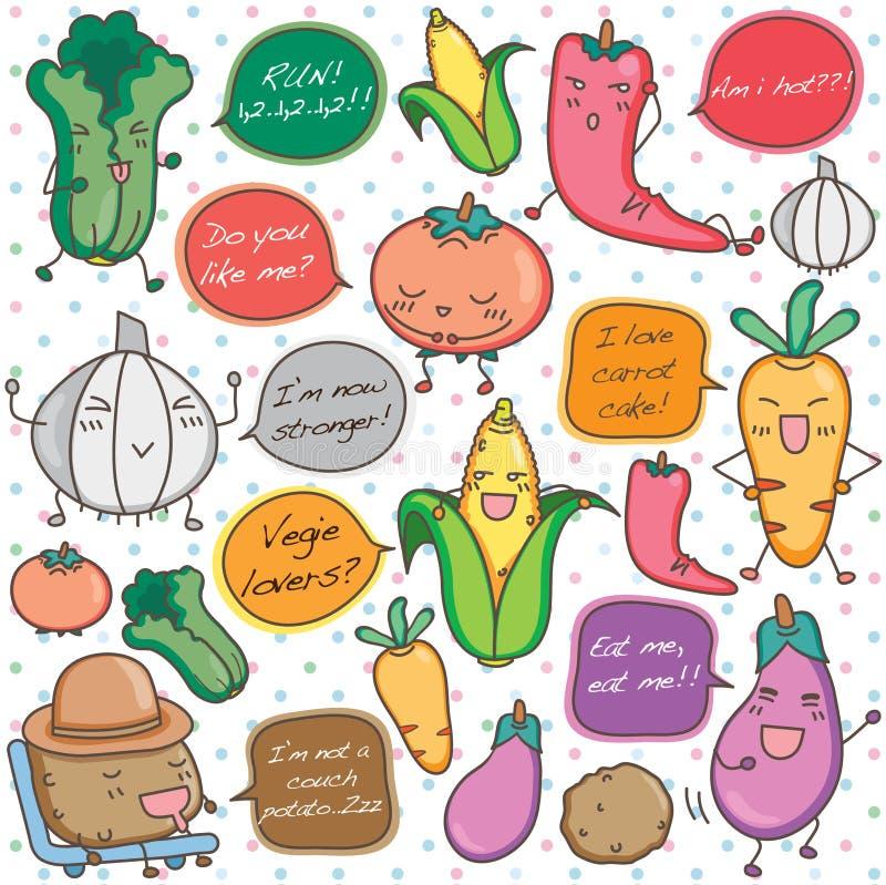 Talking vegetables clip art vector illustration