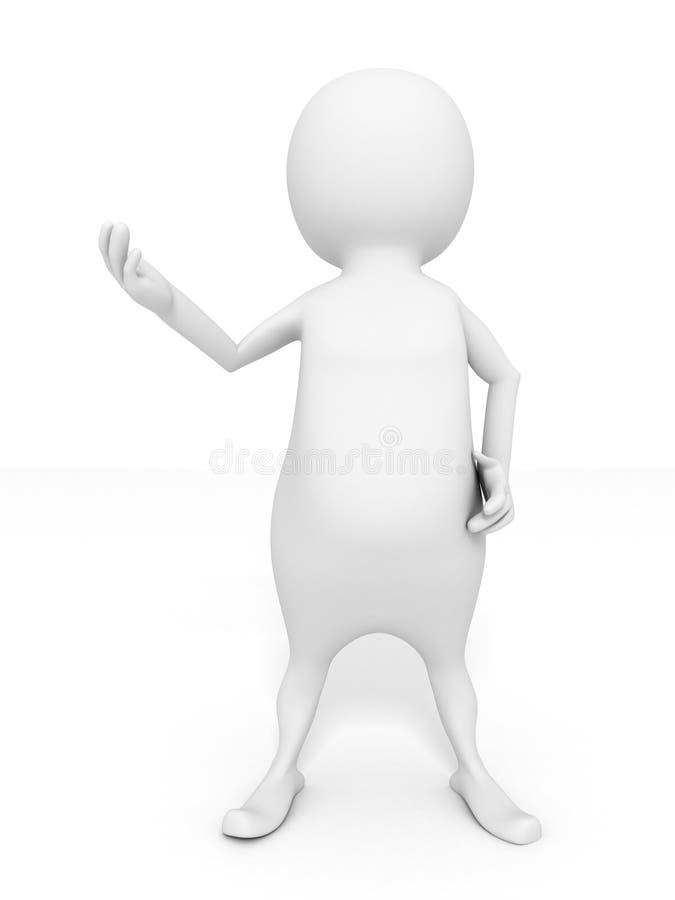 Talking white 3d man speaker with opened hand stock illustration