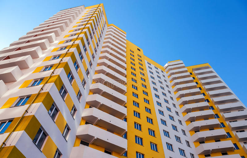 Tall apartment buildings under construction royalty free stock photo