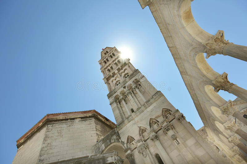 Tall bell tower of the cathedral in Dubrovnik, Eur stock image