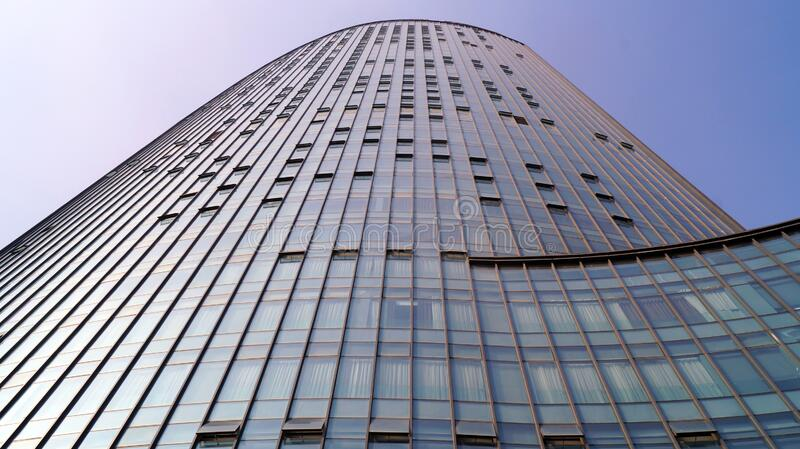 Modern building in Wuhan China. Tall building cover it by glass in the modern area of Wuhan China. metallic structure with several floors, some of them with stock photography
