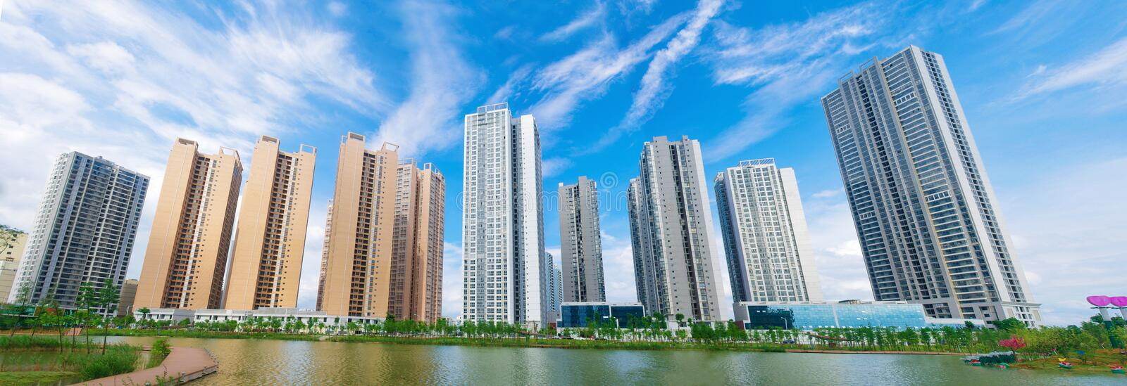 Tall building. New buildings on the lake royalty free stock images