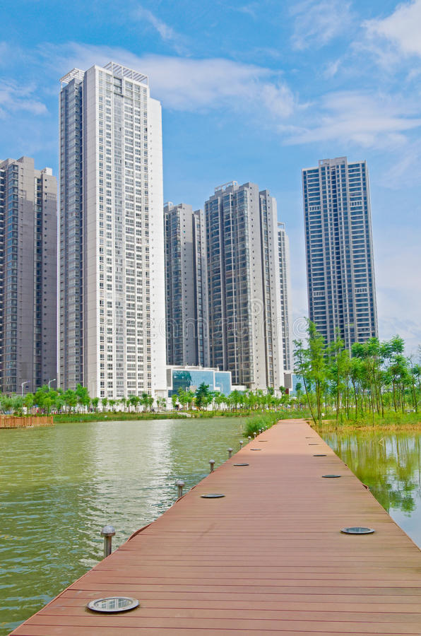 Tall building. New buildings on the lake royalty free stock photos
