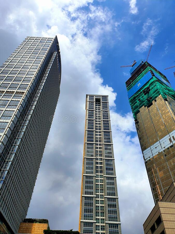 Tall buildings in the city of Jakarta, Indonesia stock photography