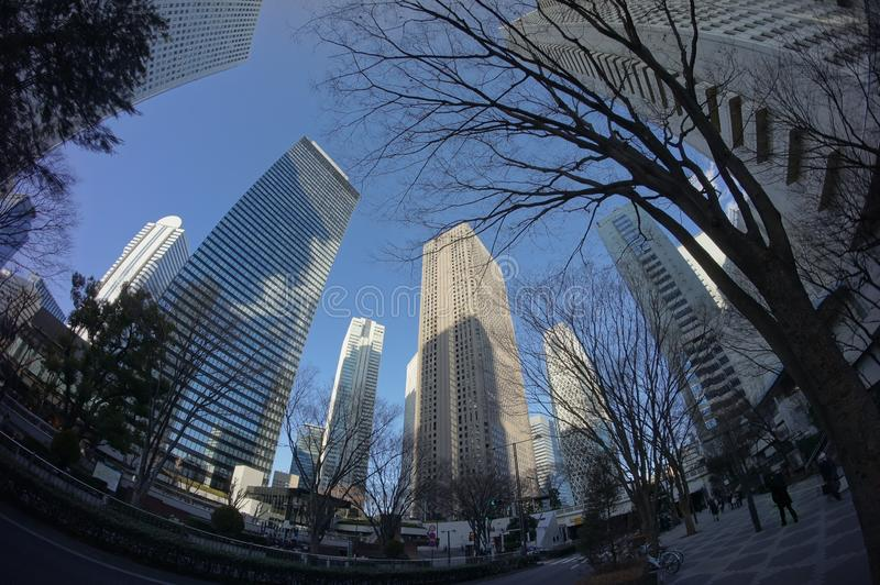 Fisheye View of Downtown Tokyo royalty free stock photography