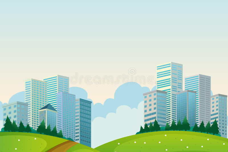 Download Tall Buildings Near The Hills Stock Vector - Illustration of condo, hilltop: 33141355