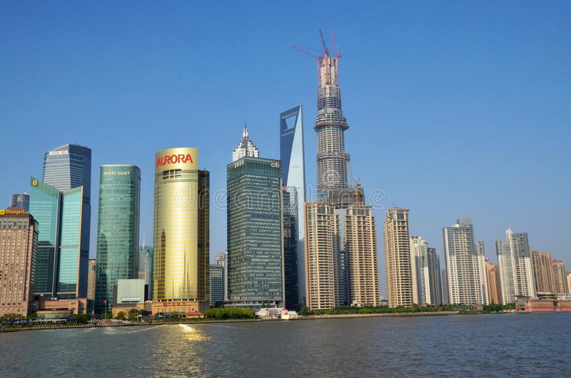 Tall buildings in Pudong. Tall buildings in Shanghai. Taken in Shanghai, May 13, 2013 stock photography