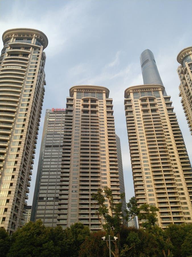 Tall buildings in Shanghai. Before nightfall stock image