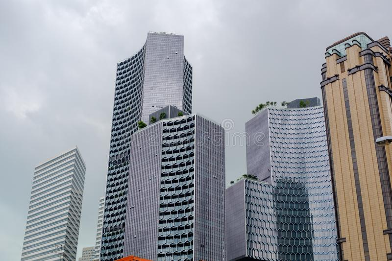 Tall buildings in Singapore Has a beautiful design royalty free stock photography