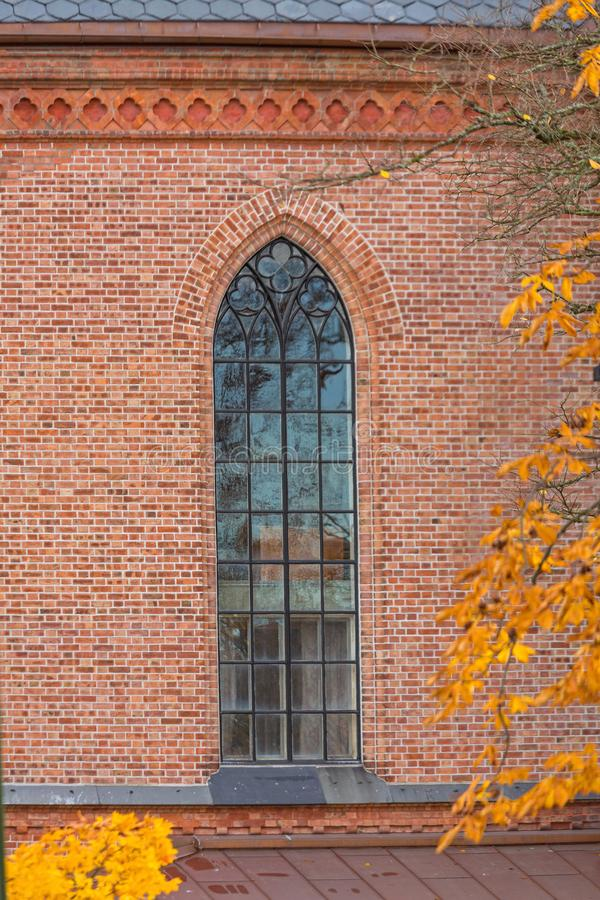 Tall Church Window. Tall Gothic Window at Church in Fredrikstad Norway stock images