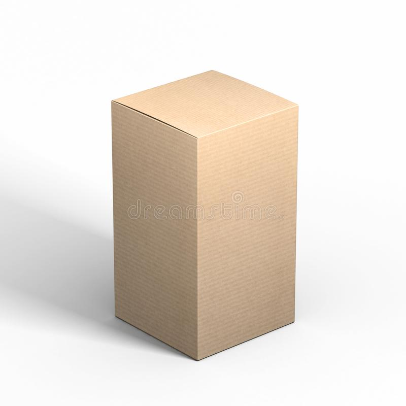 Tall closed Cardboard box mockup on gray background royalty free illustration
